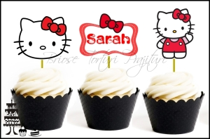 Set Toppers Personalizate Contur HELLO KITTY Nr. 2 - Rosu