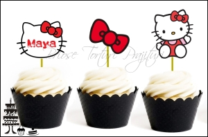Set Toppers Personalizate Contur HELLO KITTY - Rosu