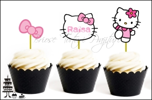 Set Toppers Personalizate Contur HELLO KITTY - Roz